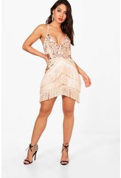 89f7b26da7969 Boutique Pia Sequin and Tassel Bodycon Dress | Rose Gold Sequin ...