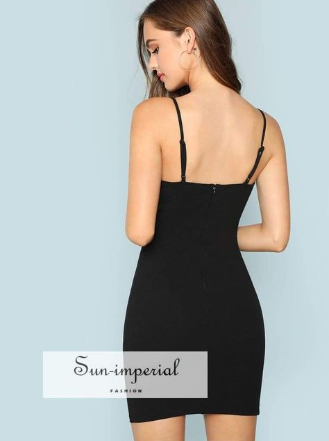 a1cea287aa3 Plunging Neck Solid Cami Bodycon Dress 5% Spandex 95% Polyester Black  Bodycon Fabric Has Some Stretch Sun-Imperial United States