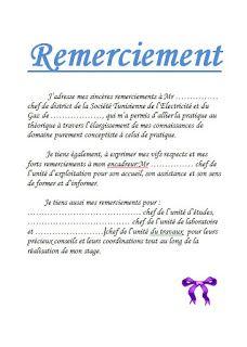 Exemple De Remerciement D Un Rapport De Stage Exemple D Un