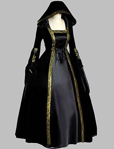 Fantasia Vintage Longo Maxi Vestido Feminino Halloween Medieval Maiden vestidos Cosplay
