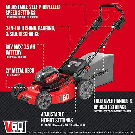Craftsman V60 Cordless Lawn Mower Self Propelled 7 5 Ah Cmcmw270z1 1 Cordless Lawn Mower Self Propelled Mower Lawn Mower