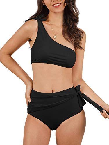 f987281266cd9 Lovaru Womens High Waisted Swimsuit One Shoulder Crop Top Bikini Set Ruched  Side Tie Beachwear