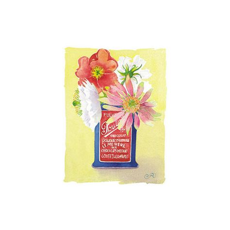 Flowers in a Red and Blue Can Wall Art Print (855 RUB) ❤ liked on ...
