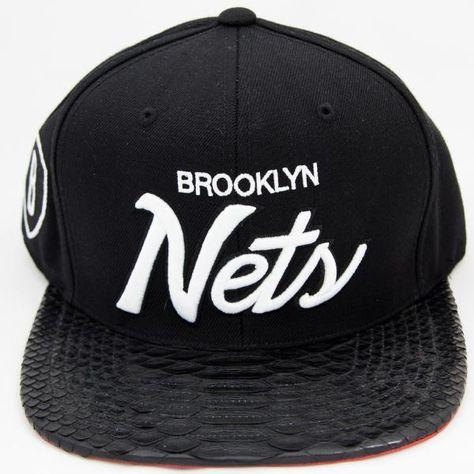 Mitchell   Ness Brooklyn Nets Script Snakeskin Strapback  b39b22918f4