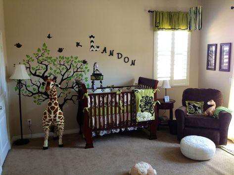 Safari Nursery Modern Giraffe Theme Boys Room Green And