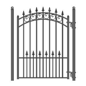 Aleko Moscow Steel 4 Ft X 5 Ft Black Steel Pedestrian Fence Gate