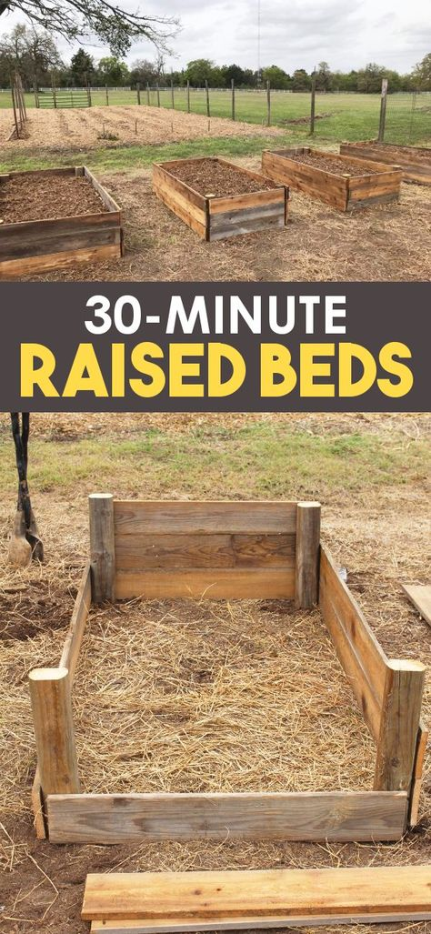 Learn how to build raised garden beds for vegetable gardening or herb gardening! These wooden raised beds are perfect for elevated gardening and incorporate some hugelkultur techniques as well! Get the DIY Raised garden bed plans today! Cheap Raised Garden Beds, Raised Garden Bed Plans, Building Raised Garden Beds, Easy Garden, Raised Gardens, Raised Bed Diy, Raised Vegetable Garden Beds, Raised Herb Garden, Raised Bed Garden Design