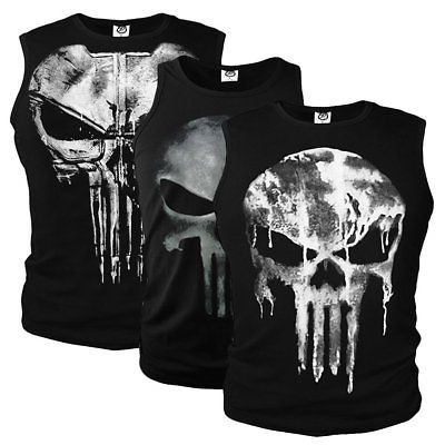 Skull Design Tattoo Mens Vest Sleeveless Tee Size S-XXL