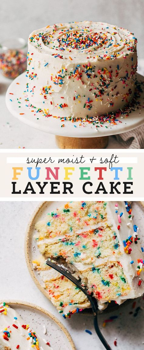 This is the BEST funfetti cake recipe! It's super moist, soft, and loaded with vanilla and sprinkles. It's smothered in a simple American buttercream to make a perfect classic birthday cake. Bakery Recipes, Easy Cake Recipes, Dessert Recipes, Dessert Ideas, Layer Cake Recipes, Food Cakes, Cupcake Cakes, Bakery Cakes, Just Desserts