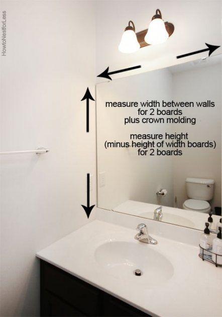 Trendy Apartment Bathroom Mirror Frame Builder Grade Ideas Bathroom Mirror Makeover Bathroom Mirrors Diy Bathroom Mirror Frame