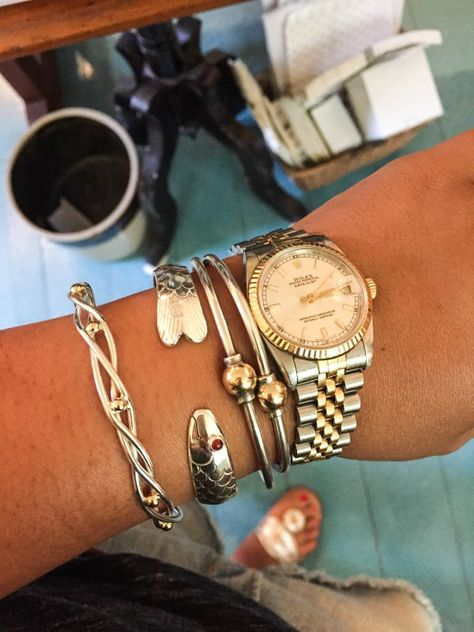 Cape Cod bracelets styled with a watch