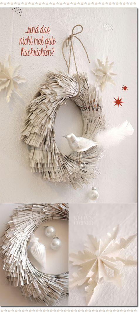 Fringed paper wreath ★Les Tissus Colbert: Kelly´s Corner: Ein Kranz im neuen Gewand – ein DIY