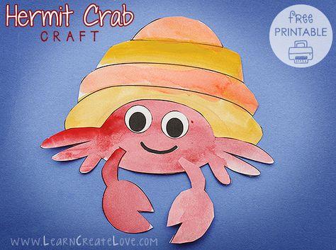 Hermit Crab Printable Craft   LearnCreateLove.com