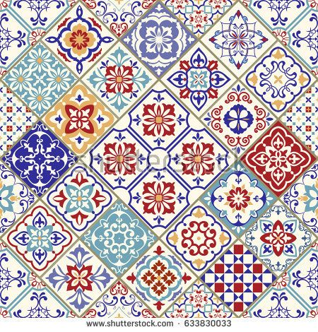 Seamless Ceramic Tile With Colorful Patchwork Vintage Multicolor Pattern In Turkish Style Endless Pattern Can Be Used For Ceramic Til Vetores Estampas Ideias