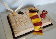 For a harry potter fan Book sculpted from a 9x13 sheet cake