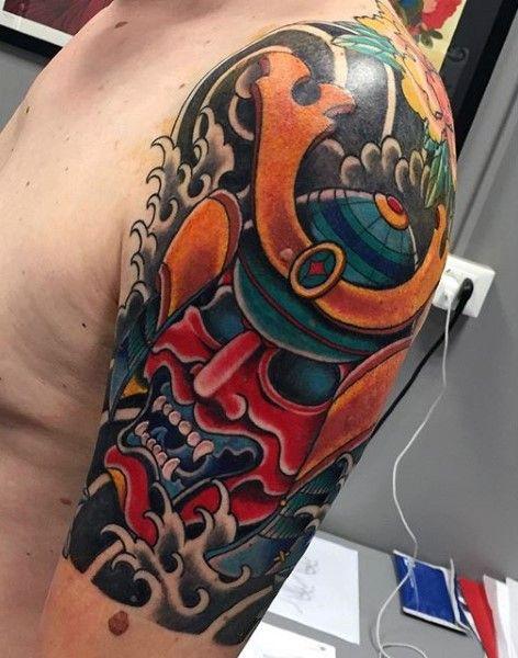 Big Colored Mystical Samurai Helmet Tattoo On Shoulder Mask Tattoo Samurai Mask Tattoo Tattoo Designs Men