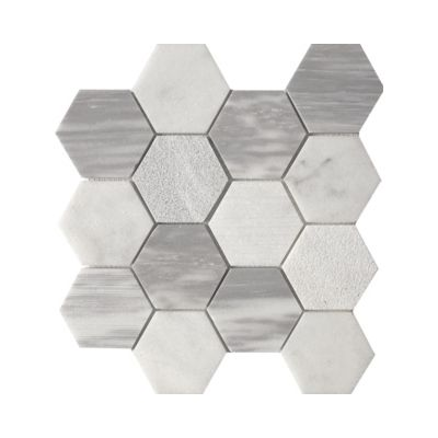 Tesoro 11 7x11 75 Tuna Carrara 3 Hex Blend Mosaic 1 04 Pc Per Sf Stdcontluna3hxbl Decorative Tile Beveled Subway Tile Mosaic Tiles