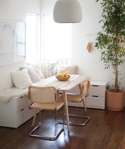 5 Ikea Hacks For Organizing Small Spaces Dining Room Small Dining Room Bench Decorating Small Spaces