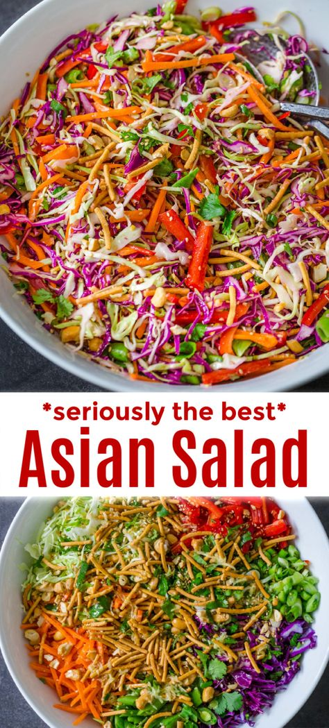Home Decor Ideas Cozy Asian Chopped Salad is a family favorite - it's crunchy a Asian Chopped Salad, Chopped Salad Recipes, Healthy Salad Recipes, Vegetarian Recipes, Crunchy Asian Salad, Chopped Salads, Asian Chop Salad Recipe, Asian Cabbage Salad, Cobb Salad