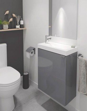 Lave Mains A Suspendre Gris Imandra L 44 X H 55 X P 23 Cm Dim L 44 X H 55 X P 23 Cm Petite Salle De Toilette Salle De Bain Design Idee Salle De Bain
