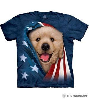 The Mountain Adult Unisex T Shirt Patriotic Golden Pup Dogs