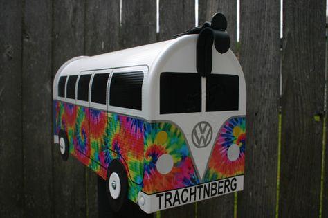 Custom Made To Order Tie Dye Volkswagen Bus Mailbox by TheBusBox - SplitBusBox - Hippie - Woodstock - 60s - 70s - Tye Dye - Colorful - Hippy