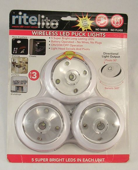 Details About Rite Lite Wireless Led Puck Lights Set Of 3