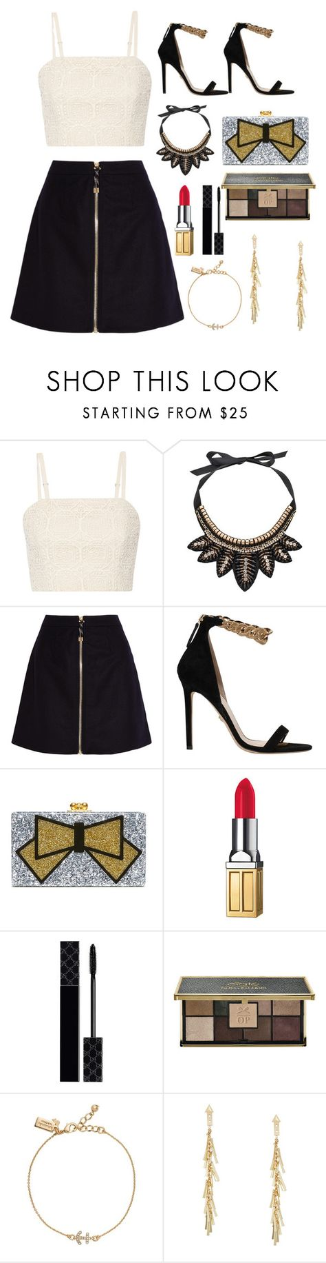 """White, Black and Gold"" by lydiamart ❤ liked on Polyvore featuring Alice + Olivia, Gemma Simone, Acne Studios, Versace, Edie Parker, Elizabeth Arden, Gucci, Ciaté, Kate Spade and BCBGMAXAZRIA"