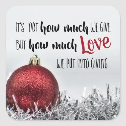 Inspirational Christmas Quote With Red Decoration Square Sticker Zazzle Com In 2020 Christmas Quotes Inspirational Christmas Quotes Holiday Quotes