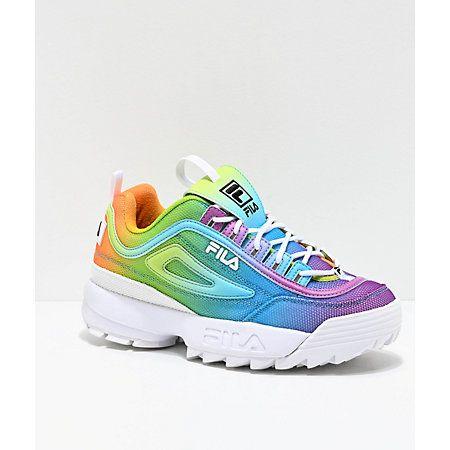 FILA Disruptor Multicolor & White Shoes in 2020 | Tie dye