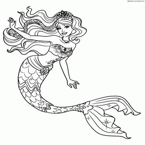 Dibujos Para Pintar Barbie Dibujos Sirena Para Colorear