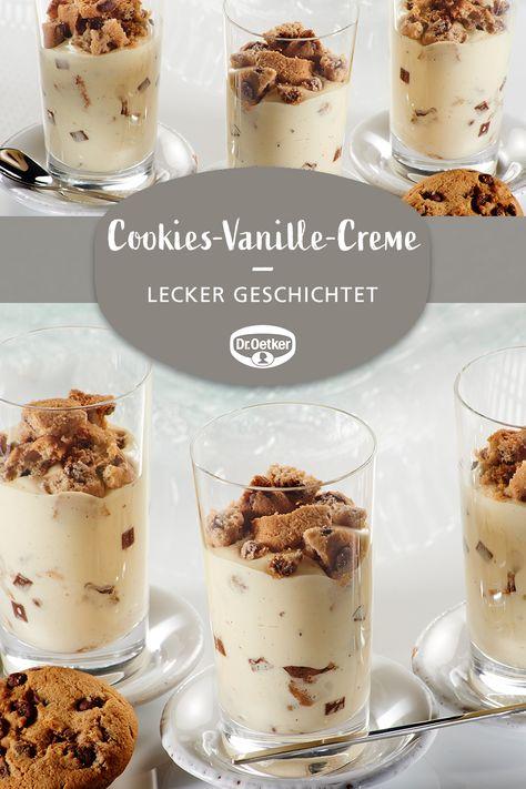 Cookies-Vanille-Creme: Creme mit Bourbon-Vanille mit Schokocookies geschichtet #dessert #nachtisch #dessertimglas