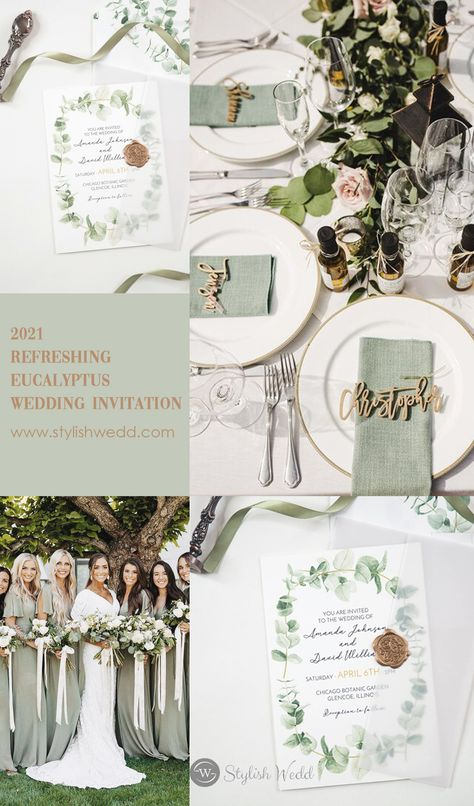 refreshing eucalyptus wedding invitation with vellum pocket SWPI093 #weddingideas#weddinginvitations#stylishwedd #stylishweddinvitations #vellumweddinginvitations#springwedding#summerwedding#2021wedding