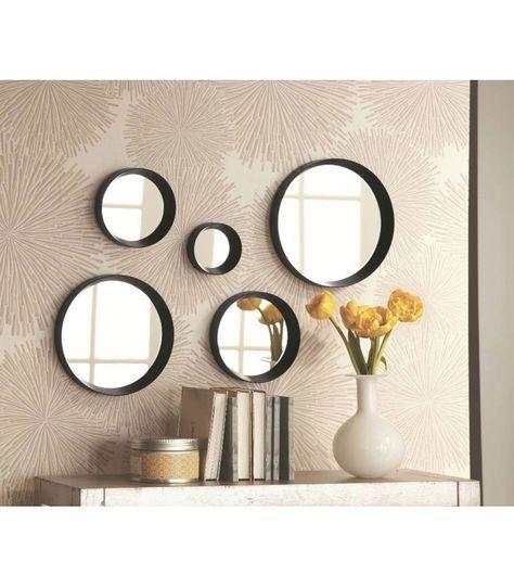 Set De 5 Miroirs Ronds Noirs   Diam. De 10 à 25cm