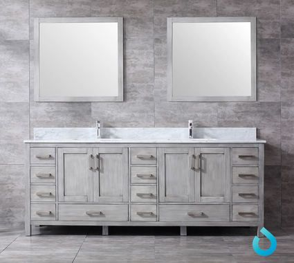 84 Solid Rubber Birch Wood Vanity In A Distressed Grey Wood