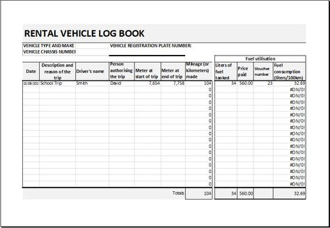 vehicle log book template download