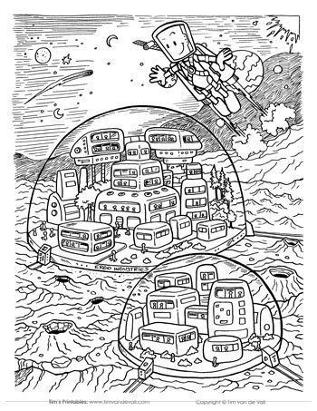 Space Station Coloring Page Coloring Pages