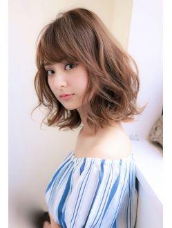 20代 30代 40代ひし形 ウェーブロブ スタイル 髪型 ミディアム