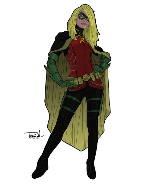 Stephanie Brown as Robin. Its a redesign of a slightly older Steph, seasoned by the years being Robin. No longer the bundle of energy and youthful excitement of starting out and not knowing what to expect, Steph is now calculating, confident, efficient, more agile and an even better fighter. Grayson continues to mentor her in the ideals of the Bat and the balance of being your own person in that shadow of Bruce's.