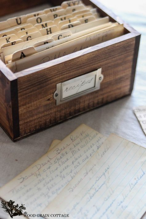 DIY Recipe Box by The Wood Grain Cottage- would like to make an heirloom recipe box with all my favorite recipes