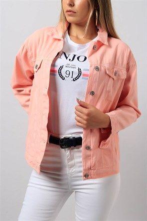 Kol Detayli Pudra Bayan Kot Ceket Modeli 8926b Kot Ceket Moda Kombinleri Moda