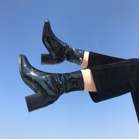 "unif: ""Gia boot - available in red too "" Sock Shoes, Cute Shoes, Me Too Shoes, Crazy Shoes, Aesthetic Shoes, Aesthetic Clothes, Aesthetic Women, High Heels, Shoes Heels"