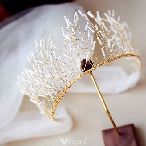 Chic / Beautiful Gold Tiara 2019 Metal Beading Bridal Hair Accessories - My WordPress Website