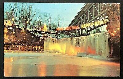 Ludlow Falls Christmas Lights 2020 Vintage Ohio Postcard: Ludlow Falls, Christmas Lights, Waterfalls