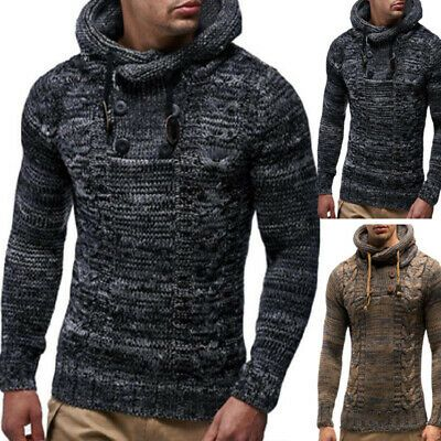 mens knitted jumper acrylic pullover winter top sweater by