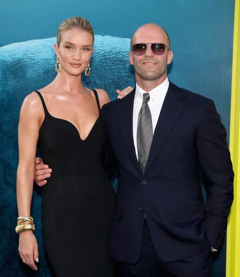 Rosie Huntington-Whiteley (L) and Jason Statham attend Warner Bros. Pictures and Gravity Pictures' Premiere of 'The Meg.'