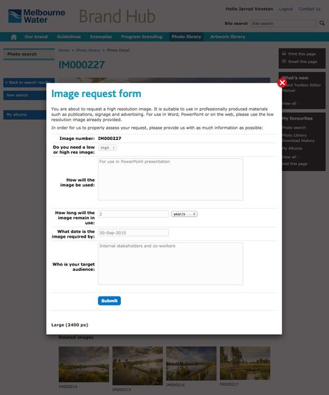 Melbourne Water Brand Hub - Image Request Form page Brand - software request form