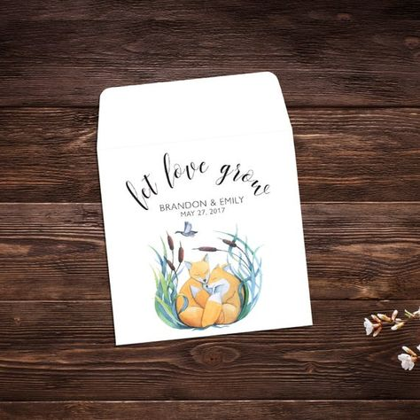 Seed Packet Favor, 25 Let Love Grow Favors, #seedpackets #seedfavors #weddingfavors #weddingseedfavor #weddingseedpackets #seedpacket #weddingfavor #seedfavor #seedpacketenvelope #seedpacketfavor #woodlandwedding #foxfavor #wildflowerseeds