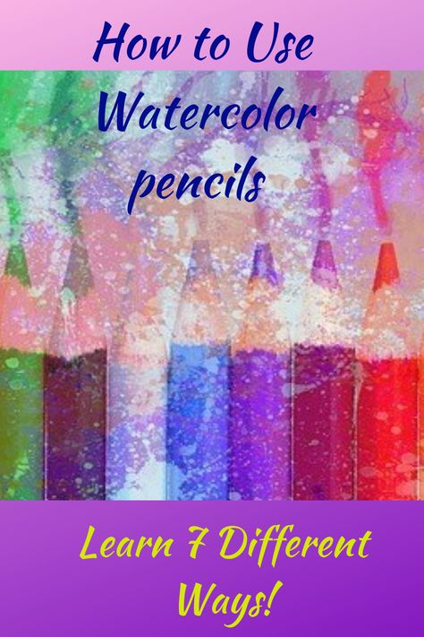 Watercolor pencils combine the best of both worlds - colored pencils and watercolor - into a wonderfully exciting and fun medium. This article will help you learn 7 ways to use them! Watercolor Pencils Techniques, Watercolor Pencil Art, Watercolor Art Lessons, Watercolor Paintings For Beginners, Watercolor Projects, Pencil Painting, Watercolour Tutorials, Painting Lessons, Learn Watercolor Painting
