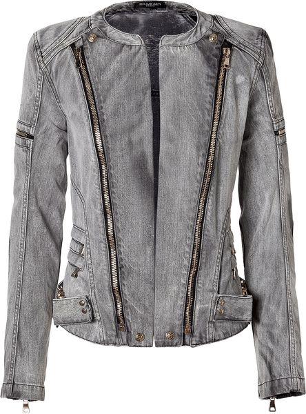 Balmain Antique Black Denim Biker Jacket